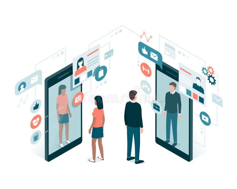 Medios perfiles sociales stock de ilustración