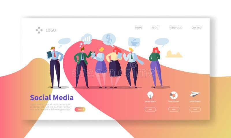 Medios plantilla social de la página del aterrizaje Disposición del sitio web con los caracteres planos de la gente que comunican libre illustration