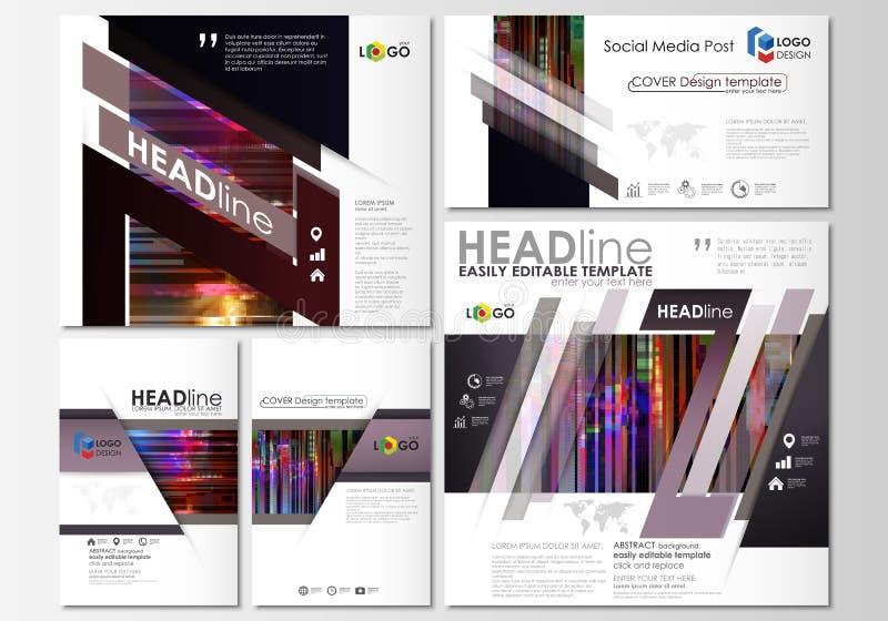 Medios posts sociales fijados Modelos del asunto Disposiciones abstractas del vector del diseño Fondo de Glitched hecho del pixel libre illustration