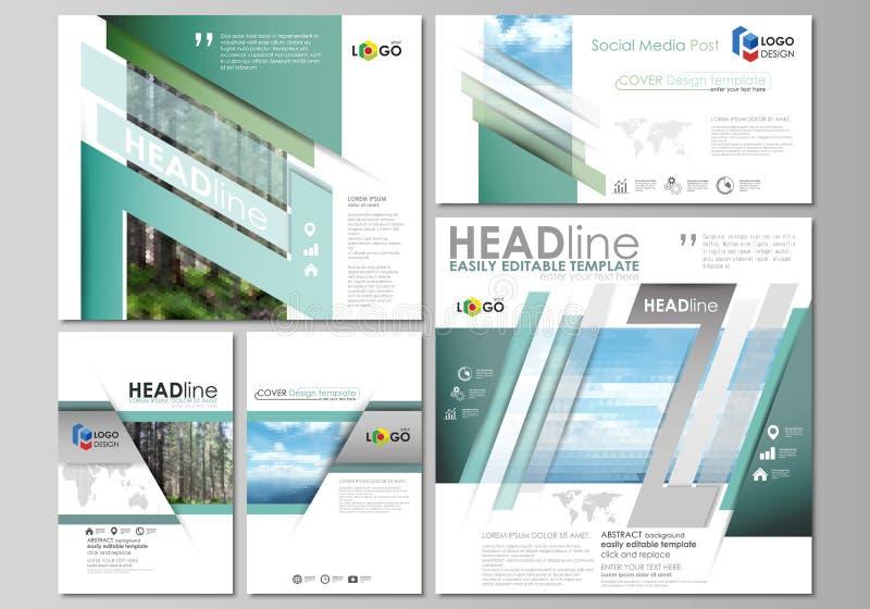 Medios posts sociales fijados Plantillas abstractas del diseño, disposiciones del vector en formatos populares Fondo, triangulare ilustración del vector