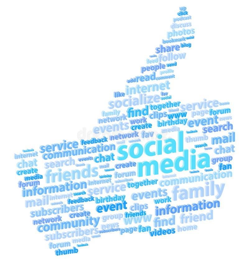 Medios pulgar social para arriba stock de ilustración