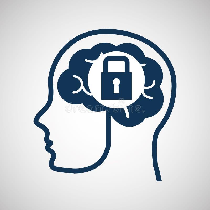 Medios seguridad social de los medios del concepto, de la cabeza y del cerebro stock de ilustración