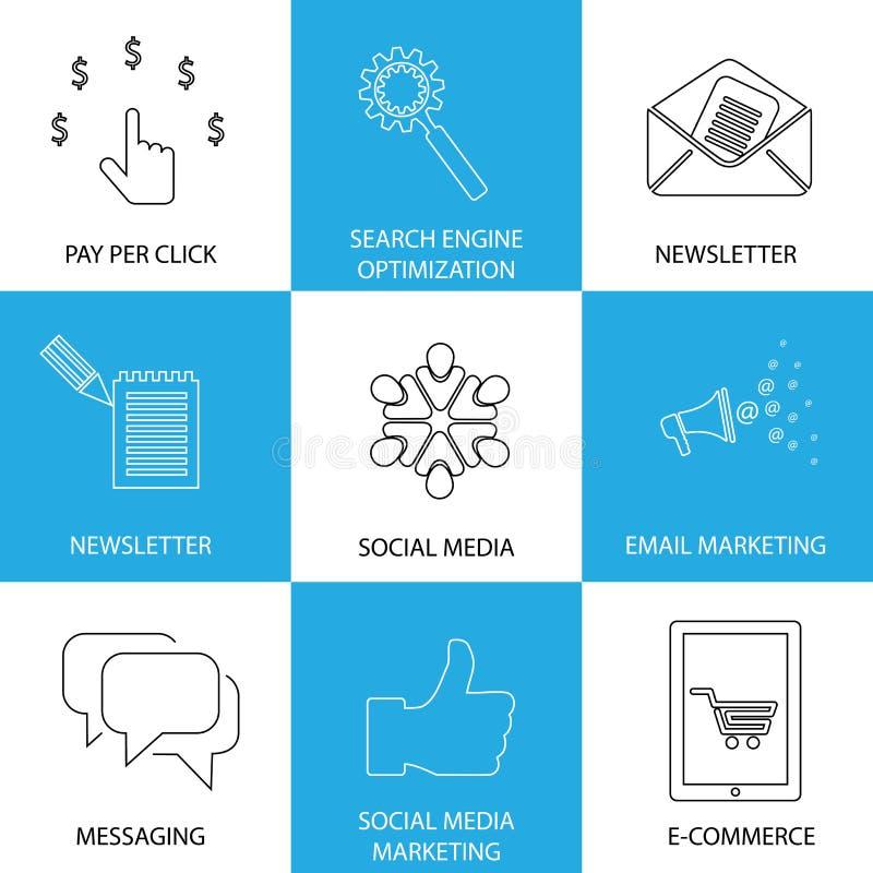 Medios, seo y comercio electrónico de comercialización, sociales - iconos del vector del concepto libre illustration