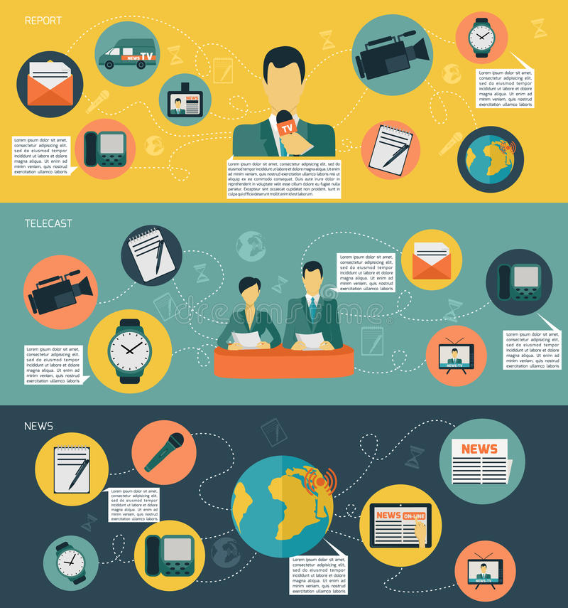 Medios sistema de la bandera de las noticias libre illustration