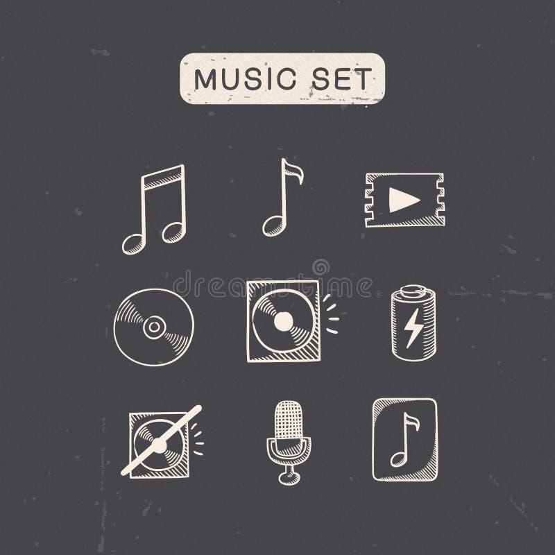 Medios sistema de símbolos audio de la música stock de ilustración
