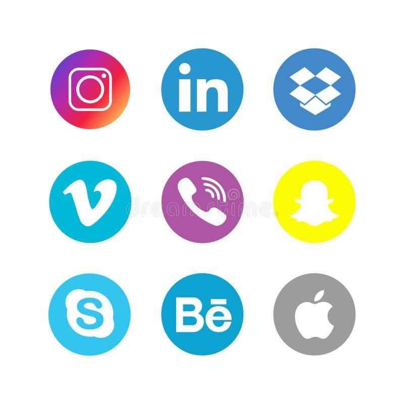 Medios sistema social de la colección de los iconos libre illustration