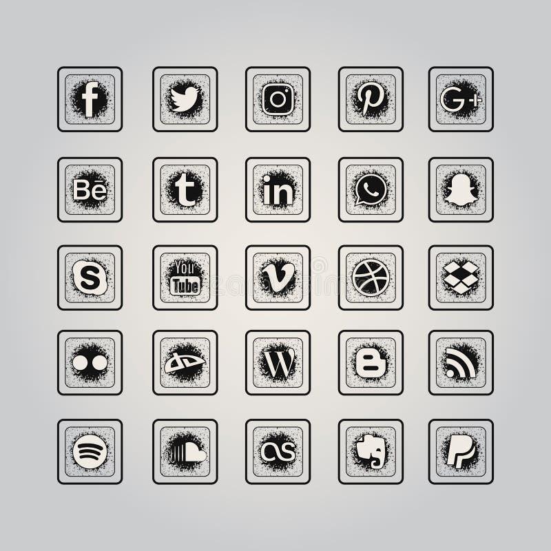 Medios sistema social del icono ilustración del vector