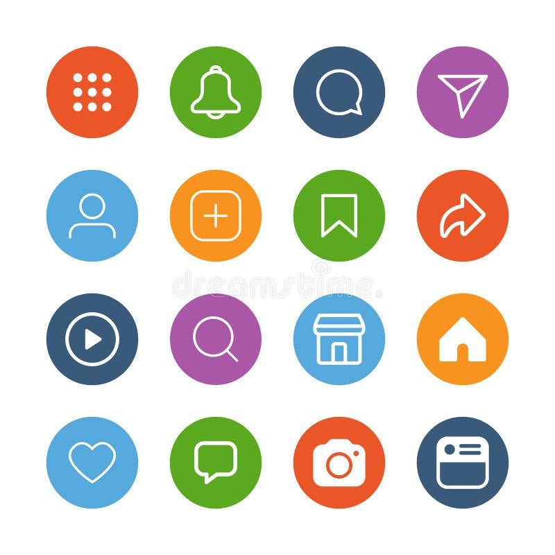 Medios sistema social simple colorido del icono, ejemplo del vector ilustración del vector