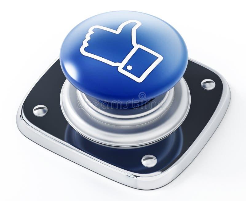 Medios sociales como el botón del icono aislado en el fondo blanco ilustración 3D stock de ilustración