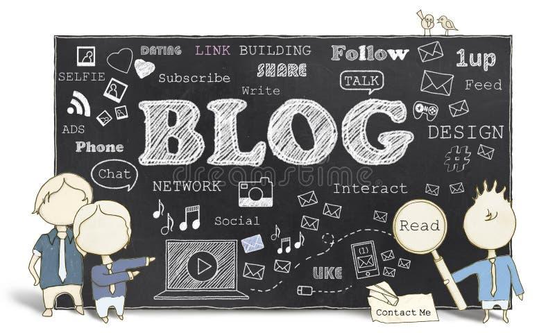 Medios sociales con Blogging stock de ilustración
