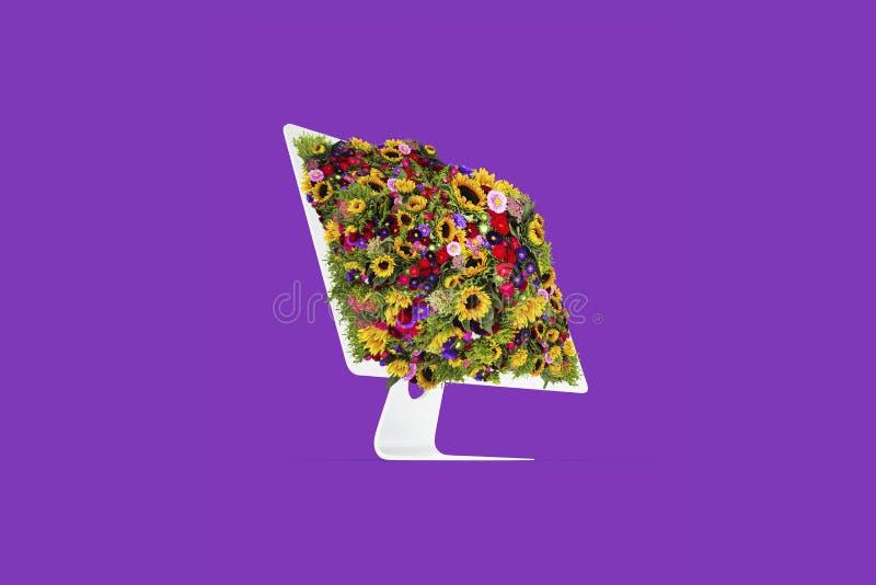 Medios sociales de la pantalla de la flor del ordenador imagenes de archivo