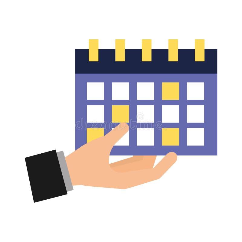 Medios sociales del calendario de la tenencia de la mano stock de ilustración