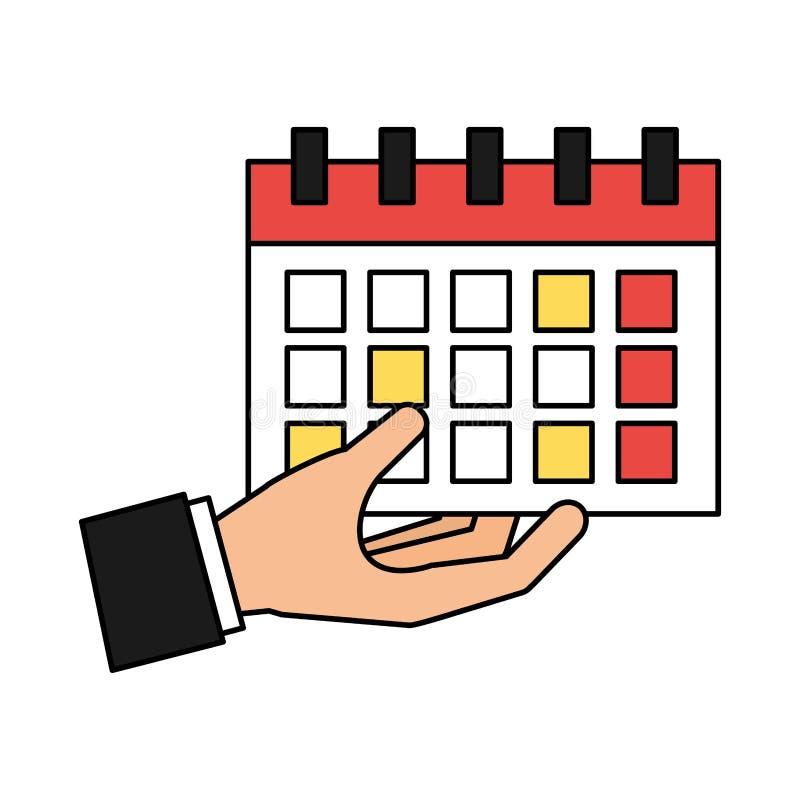Medios sociales del calendario de la tenencia de la mano ilustración del vector
