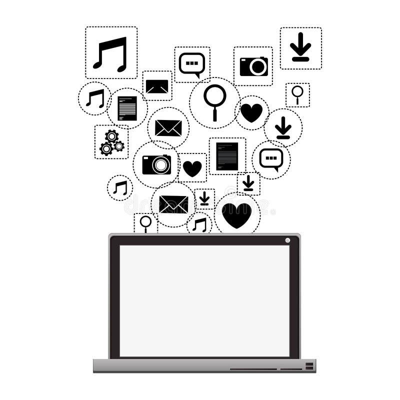 Medios sociales del ordenador portátil y diseño determinado del icono de las multimedias libre illustration