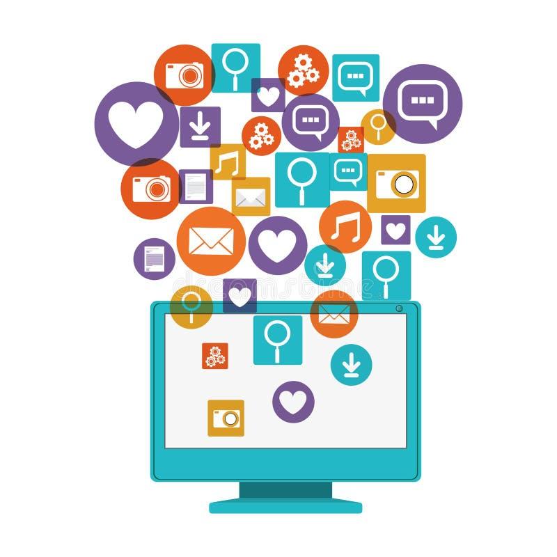 Medios sociales del ordenador y diseño determinado del icono de las multimedias ilustración del vector