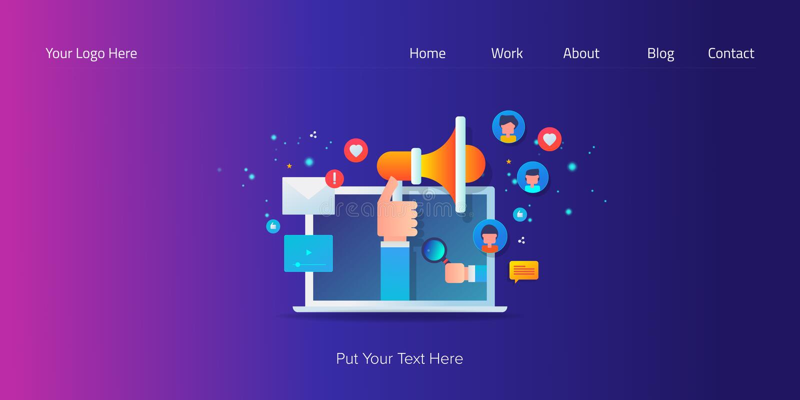 Medios sociales, márketing del influencer, medio digital, contenido viral, concepto del compromiso de la audiencia, bandera para  ilustración del vector