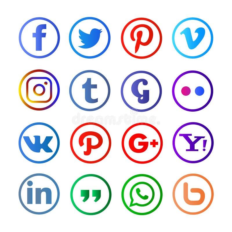 Medios sociales redondeados y colorfull ilustración del vector