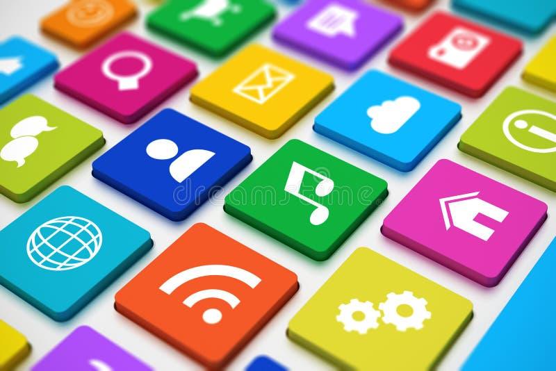 Medios teclado social stock de ilustración
