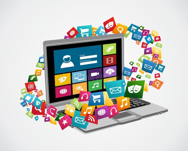 Medios usos sociales en línea ilustración del vector