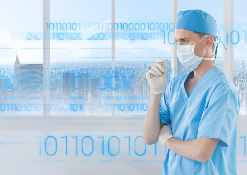Medique a máscara cirúrgica que está contra o fundo digitalmente gerado com números ilustração do vetor