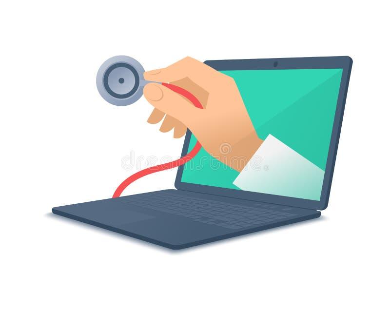 Medique a mão do ` s que guarda o estetoscópio através do chec da tela do portátil ilustração royalty free