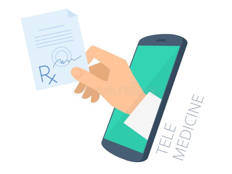 Medique a mão do ` s que guarda o rx através da tela do telefone que dá o prescri ilustração stock