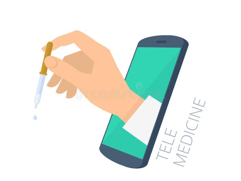 Medique a mão do ` s que guarda a pipeta através dos gotejamentos VAC da tela do telefone ilustração royalty free