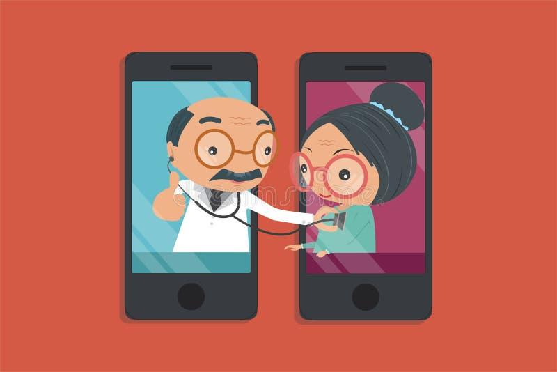 Medique a mão do ` s que guarda um estetoscópio através do che da tela do telefone ilustração do vetor