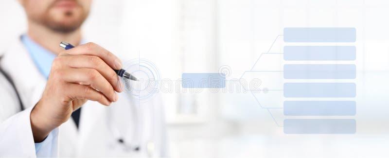 Medique o tela táctil com um conceito médico da saúde da pena imagens de stock royalty free