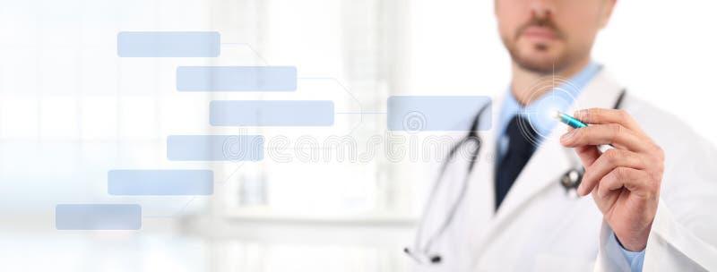 Medique o tela táctil com um conceito médico da saúde da pena ilustração stock