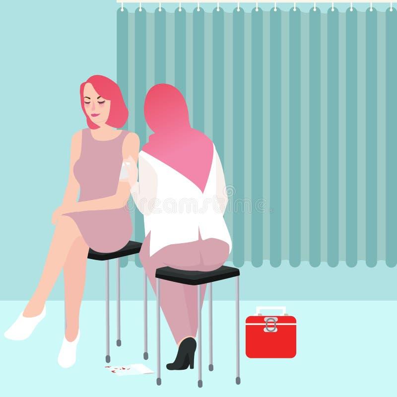Medique ou nutra a mão sem fôlego da limpeza ao paciente ferido do homem no fundo da clínica ou do hospital ilustração royalty free