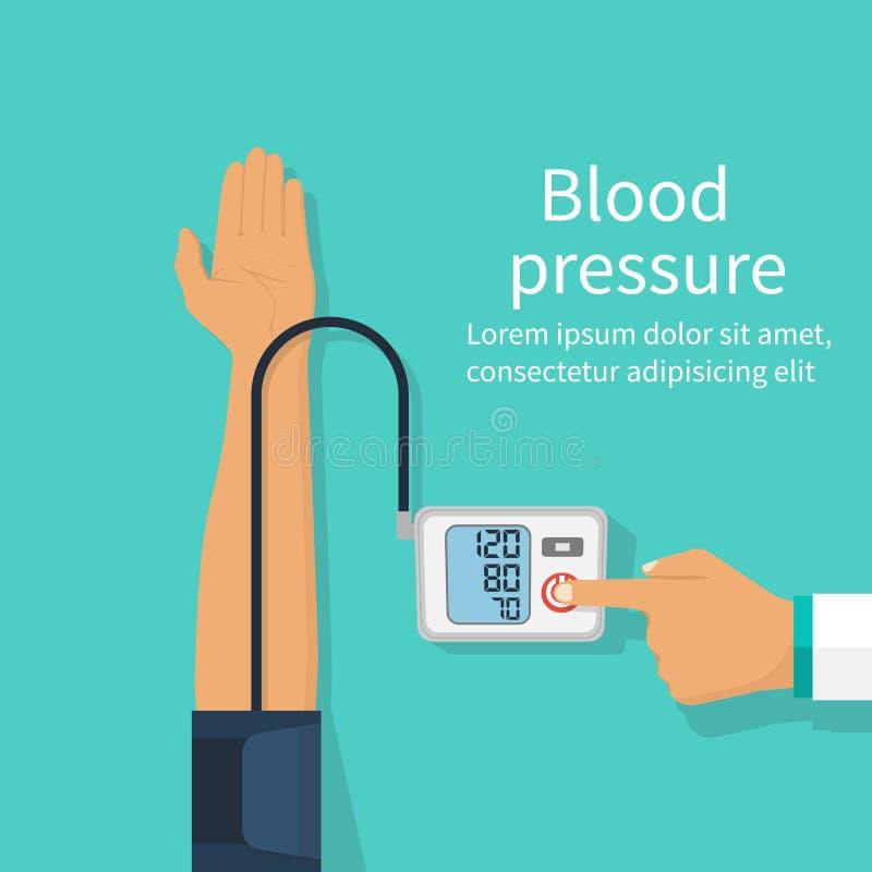 Medique a pressão sanguínea paciente de medição ilustração do vetor