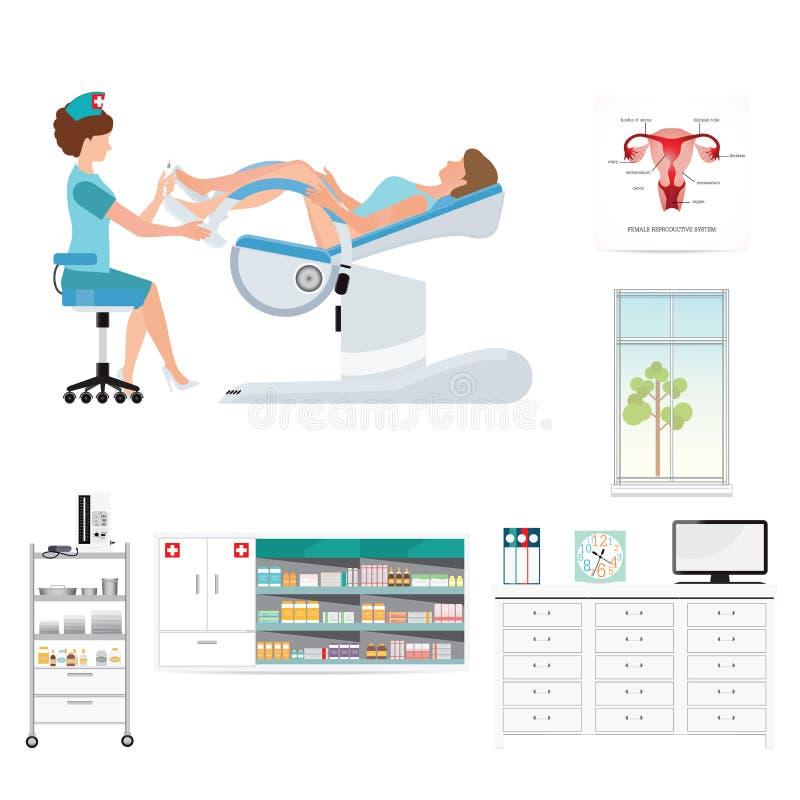 Medique a verificação do paciente na cadeira Gynecological em gynecological ilustração stock