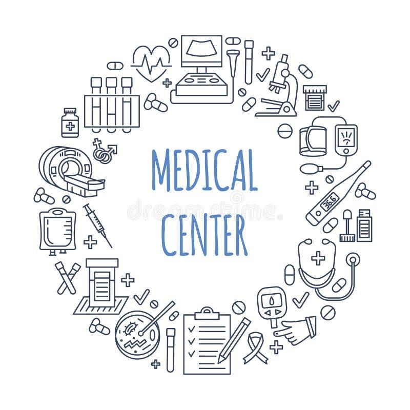 Medisch affichemalplaatje Vectorlijnillustratie van medisch centrum, gezondheidscontrole omhoog Medische apparatuur - mri royalty-vrije illustratie