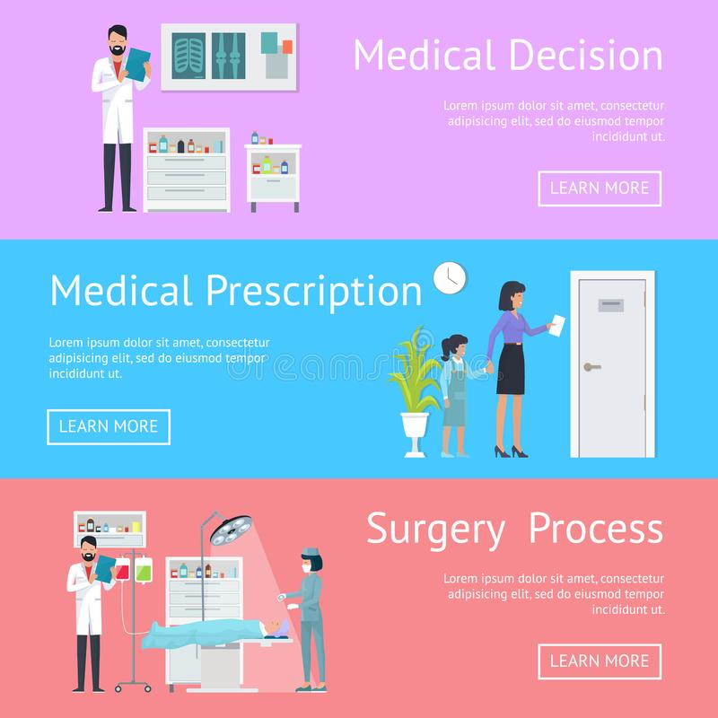 Medisch Besluit, Voorschrift en Chirurgieproces stock illustratie