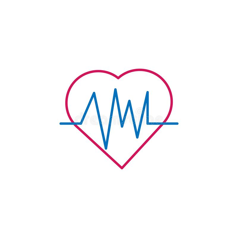 Medisch, cardiogram gekleurd pictogram Element van geneeskundeillustratie Tekens en symbolen het pictogram kan voor Web, embleem, stock illustratie