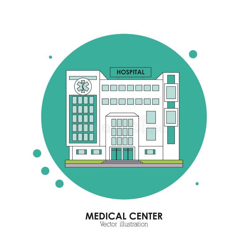 Medisch centrumontwerp Het ziekenhuisillustratie Witte achtergrond vector illustratie