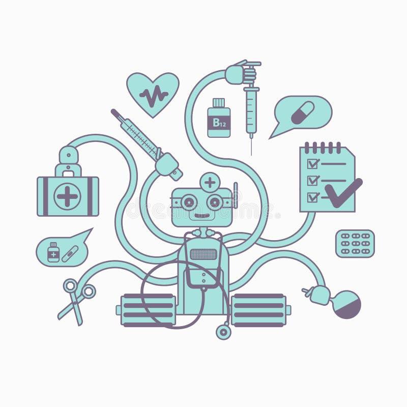 Medisch chatbotconcept stock illustratie