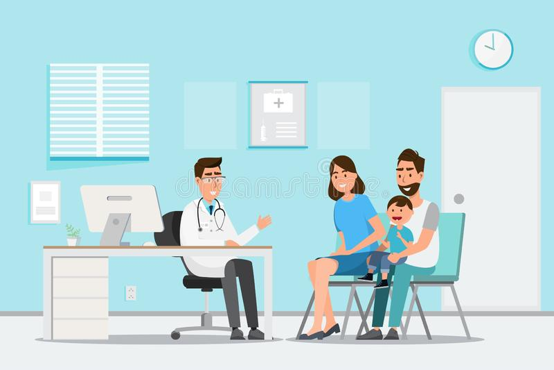 Medisch concept met arts en pati?nten in vlak beeldverhaal op het ziekenhuiszaal stock illustratie