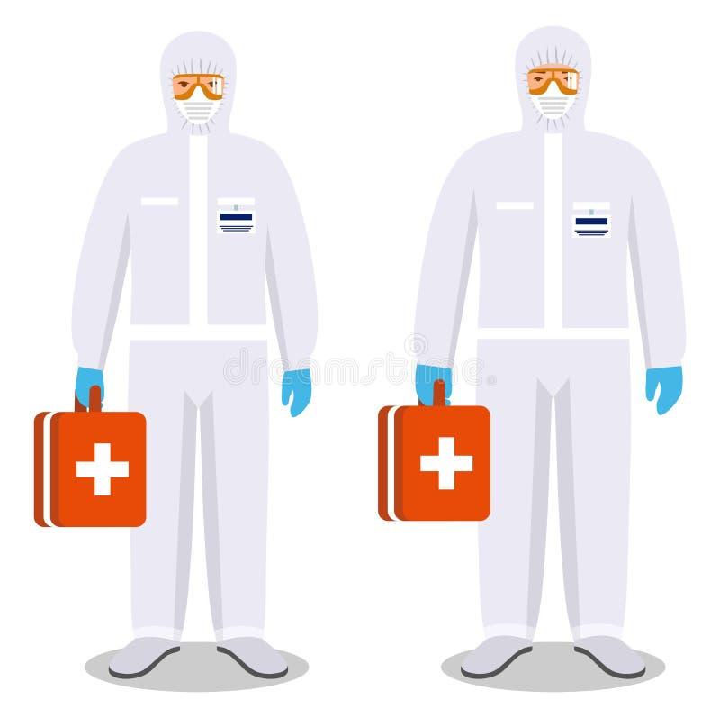MEDISCH concept Paar van de mens en vrouw in beschermende kostuums die zich op witte achtergrond in vlakke stijl verenigen Gevaar vector illustratie