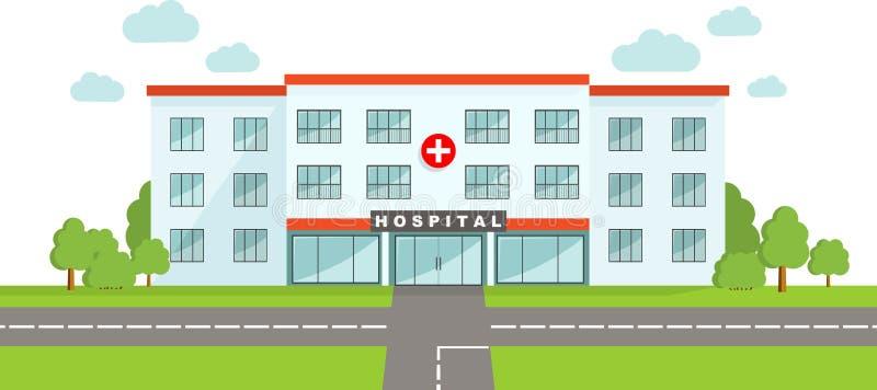MEDISCH concept Panoramische achtergrond met de het ziekenhuisbouw in vlakke stijl vector illustratie