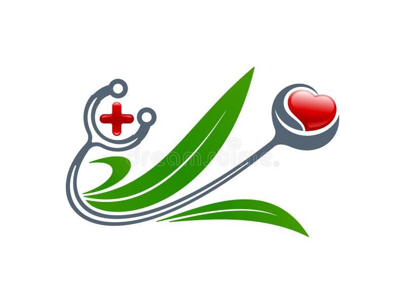 MEDISCH concept Stethoscoop, hart, kruis, bladerensymbolen Vect royalty-vrije illustratie