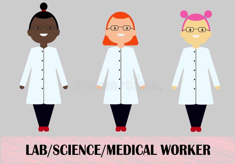Medisch de arbeiders vlak ontwerp van de vrouwenwetenschapper royalty-vrije illustratie