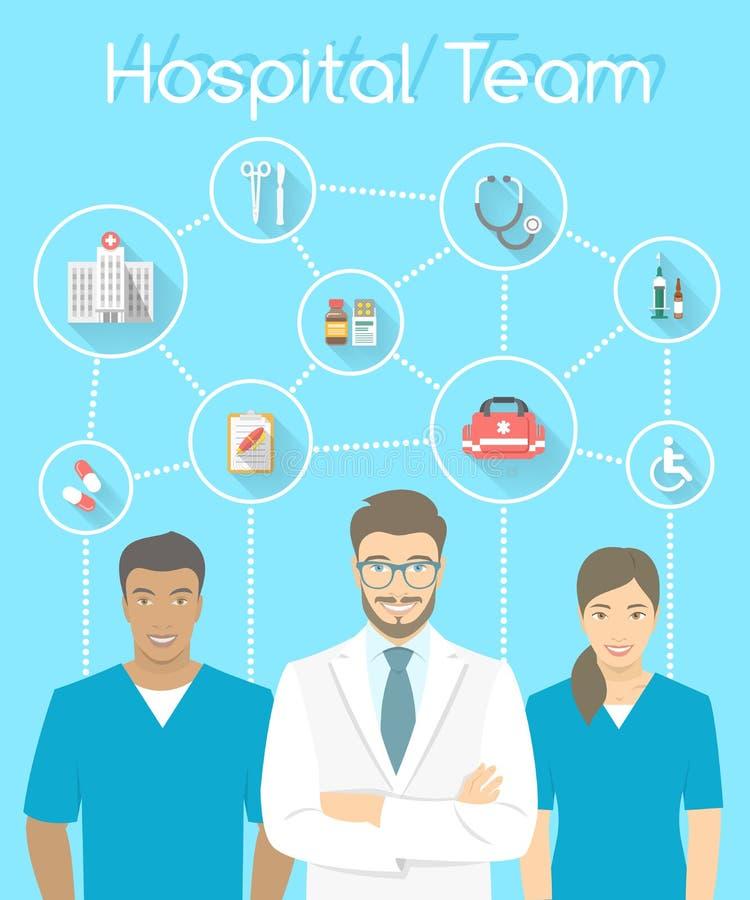 Medisch de arts en de verpleegsters van het kliniekpersoneel infographicselement stock illustratie