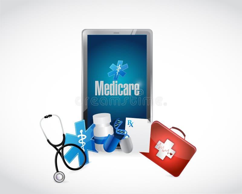 Medisch de technologieteken van gezondheidszorg voor bejaarden vector illustratie