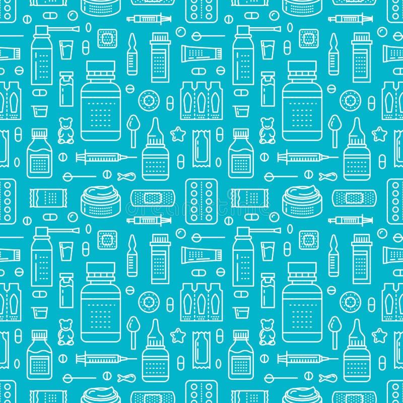 Medisch, drogisterij naadloos patroon, geneesmiddel vectorachtergrond van blauwe kleur Geneesmiddelen antibiotica, vitaminen vector illustratie