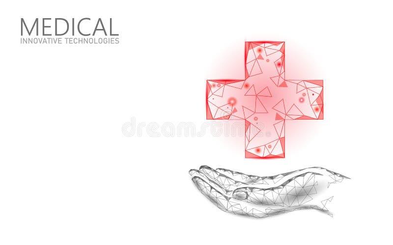 Medisch dwarssymbool artsen online concept Medisch overleg app Het de diagnose geometrische moderne ziekenhuis van de Webgezondhe stock illustratie