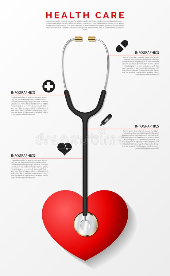 Medisch en gezondheid Het malplaatje van het Infographicontwerp met stethoscoop royalty-vrije illustratie