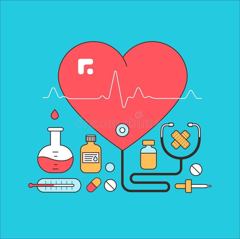 Medisch en laboratoriummateriaal stock illustratie