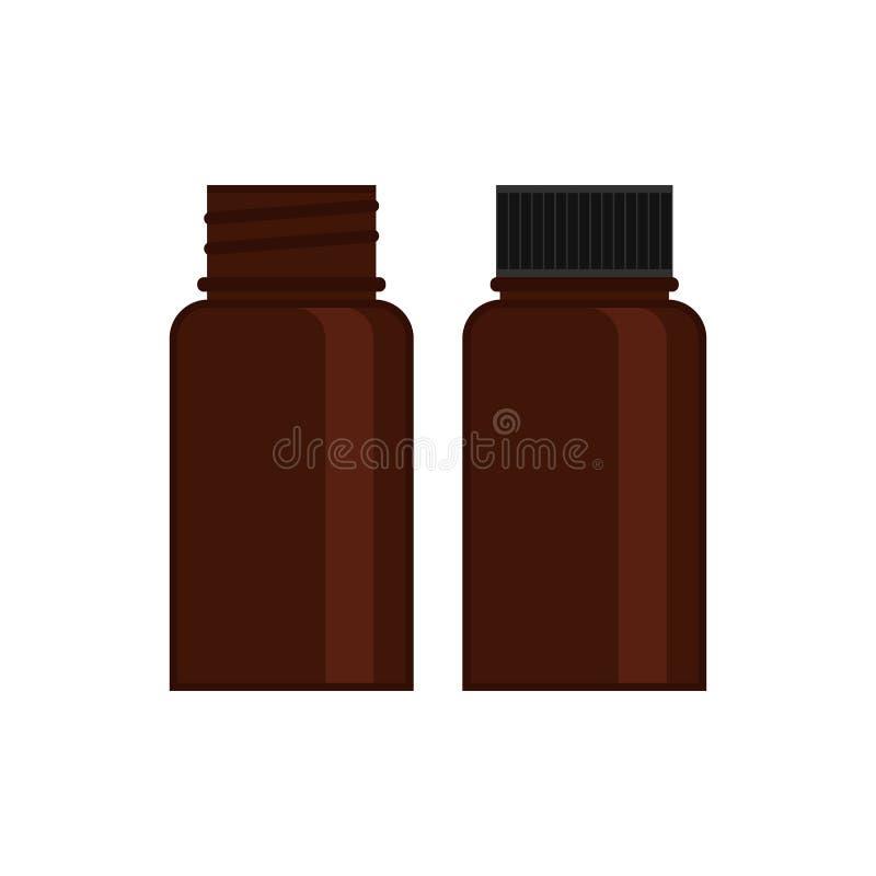 Medisch flessenglas Bruin flesje met GLB voor medisch of cosmetischee producten Ge stock illustratie